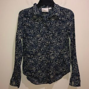 Maeve Anthropologie 4 Blue Floral Button Front